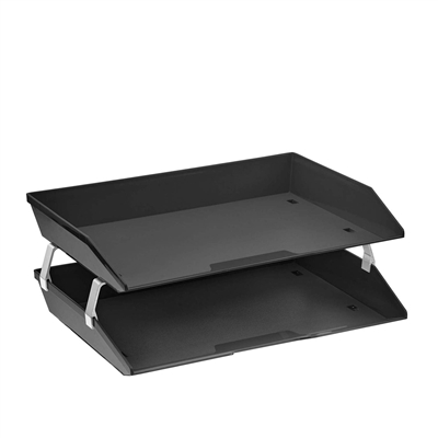 Acrimet Facility 2 Tiers Double Letter Tray (Solid Black Color) Code 253.4