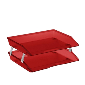 Acrimet Facility 2 Tiers Double Letter Tray (Clear Red Color) Code 253.7