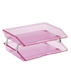 Acrimet Facility 2 Tiers Double Letter Tray (Clear Pink Color) Code 253.8