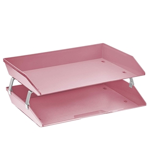 Acrimet Facility 2 Tiers Double Letter Tray (Solid Pink Color) Code 253.9