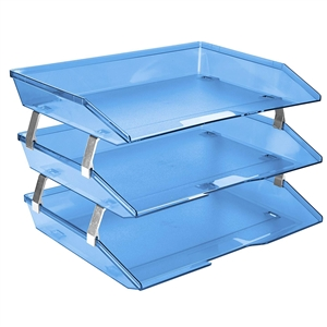 Acrimet Facility 3 Tiers Triple Letter Tray (Clear Blue Color) Code 255.2
