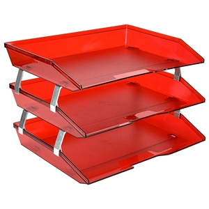 Acrimet Facility 3 Tiers Triple Letter Tray (Clear Red Color) Code 255.7