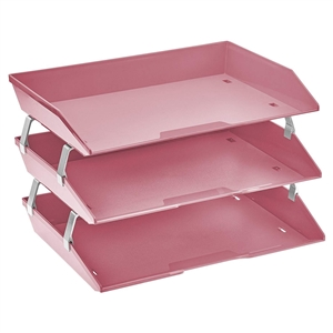 Acrimet Facility 3 Tiers Triple Letter Tray (Solid Pink Color) Code 255.9