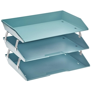 Acrimet Facility 3 Tiers Triple Letter Tray (Solid Green Color)