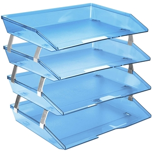 Acrimet Facility Letter Tray 4 Tiers (Clear Blue Color) Code 256.2