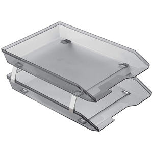 Acrimet Facility 2 Tiers Double Letter Tray Front Loading Design (Clear Smoke Color) Code 263.11