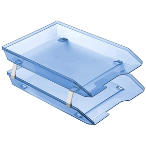 Acrimet Facility 2 Tiers Double Letter Tray Front Loading Design (Clear Blue Color) Code 263.2