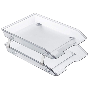 Acrimet Facility 2 Tiers Double Letter Tray Front Loading Design (Clear Crystal Color) Code 263.3