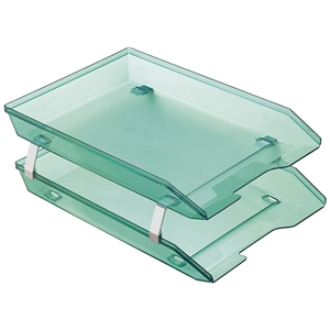 Acrimet Facility 2 Tiers Double Letter Tray Front Loading Design (Clear Green Color) Code 263.5