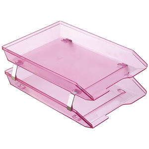 Acrimet Facility 2 Tiers Double Letter Tray Front Loading Design (Clear Pink Color) Code 263.8