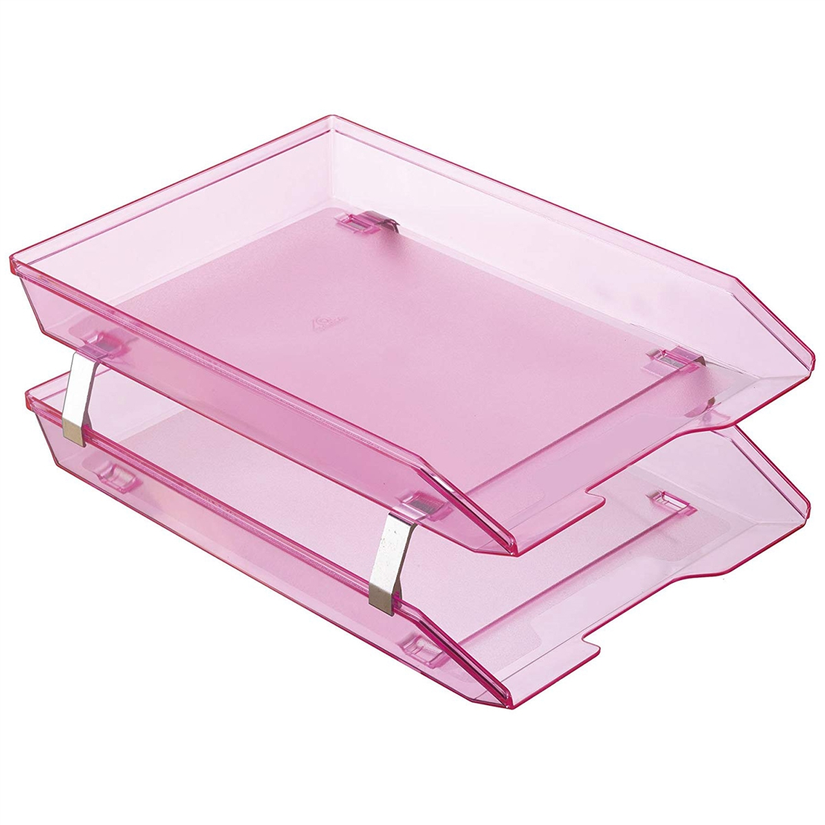Acrimet Facility Double Letter Tray Front Loading Design (Clear Pink ...
