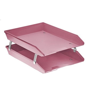 Acrimet Facility 2 Tiers Double Letter Tray Front Loading Design (Solid Pink Color)