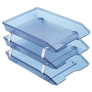 Acrimet Facility 3 Tiers Triple Letter Tray Frontal (Clear Blue Color)