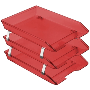 Acrimet Facility 3 Tiers Triple Letter Tray Frontal (Clear Red Color) Code 265.7