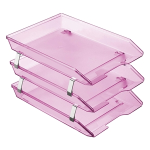 Acrimet Facility 3 Tiers Triple Letter Tray Frontal (Clear Pink Color) Code 265.8