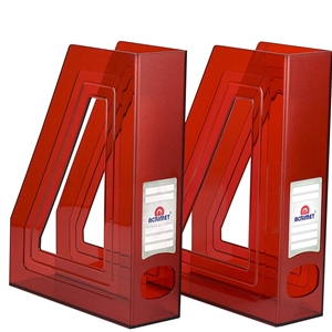 Acrimet Magazine File Holder (Clear Red Color) 2 Pack Code 277.3