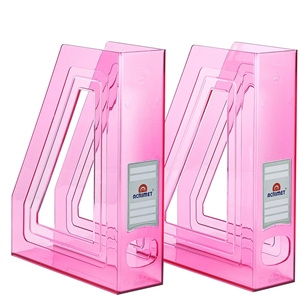 Acrimet Magazine File Holder (Clear Pink Color) 2 Pack Code 277.8