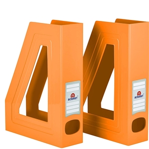 Acrimet Magazine File Holder (Solid Orange Color) 2 Pack Code 277.L.C
