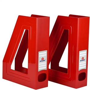 Acrimet Magazine File Holder (Solid Red Color) 2 Pack Code 277.VMO