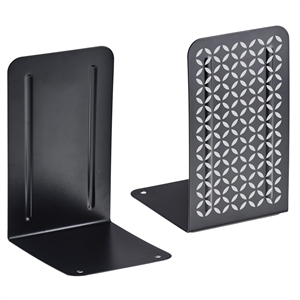 Acrimet Bookends Design Series (Black Bookend with Silver Design) (1 Pair Pack) Code 298.0
