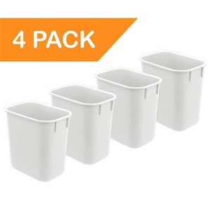 Acrimet Wastebasket 13QT (White Color) 4 - Pack Code 576.5