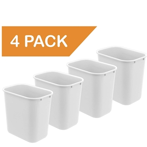 Acrimet Wastebasket 27QT (White Color) 4 - Pack Code 577.5