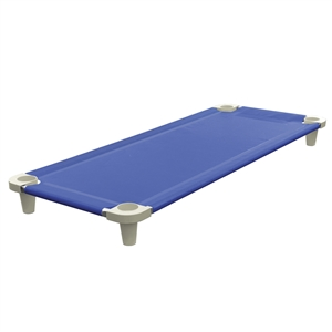 Acrimet Premium Stackable Nap Cot (Stainless Steel Tubes) (Blue) (1 Unit)