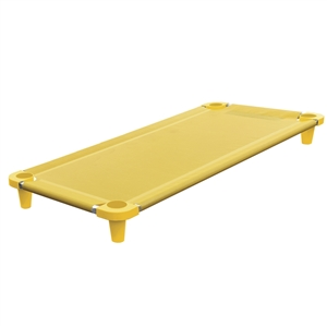 Acrimet Premium Stackable Nap Cot (Stainless Steel Tubes) (Yellow) (1 Unit)