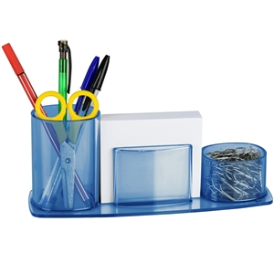 Acrimet Millennium Desk Organizer Pencil Paper Clip Cup Holder (With Paper) (Clear Blue) code 740.2