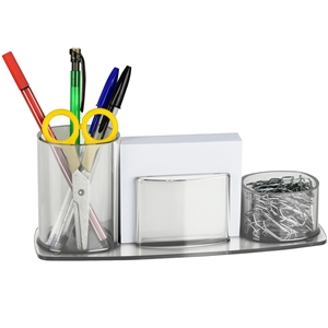 Acrimet Millennium Desk Organizer Pencil Paper Clip Cup Holder (With Paper) (Crystal Color) Code 740.3