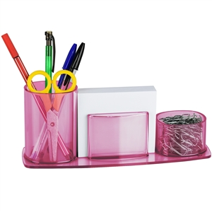 Acrimet Millennium Desk Organizer Pencil Paper Clip Cup Holder (With Paper) (Clear Pink Color) Code 740.8