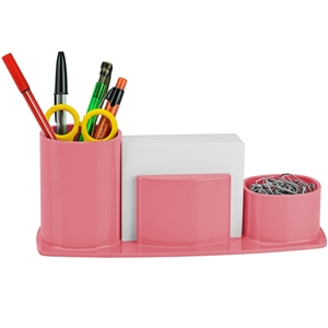 Acrimet Millennium Desk Organizer Pencil Paper Clip Cup Holder (With Paper) (Solid Pink Color) Code 740.9
