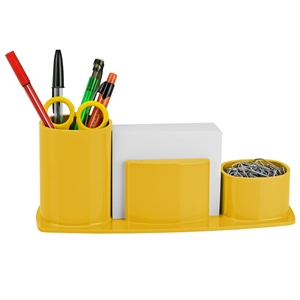 Acrimet Millennium Desk Organizer Pencil Paper Clip Cup Holder (With Paper) (Solid Yellow) code 740.AC