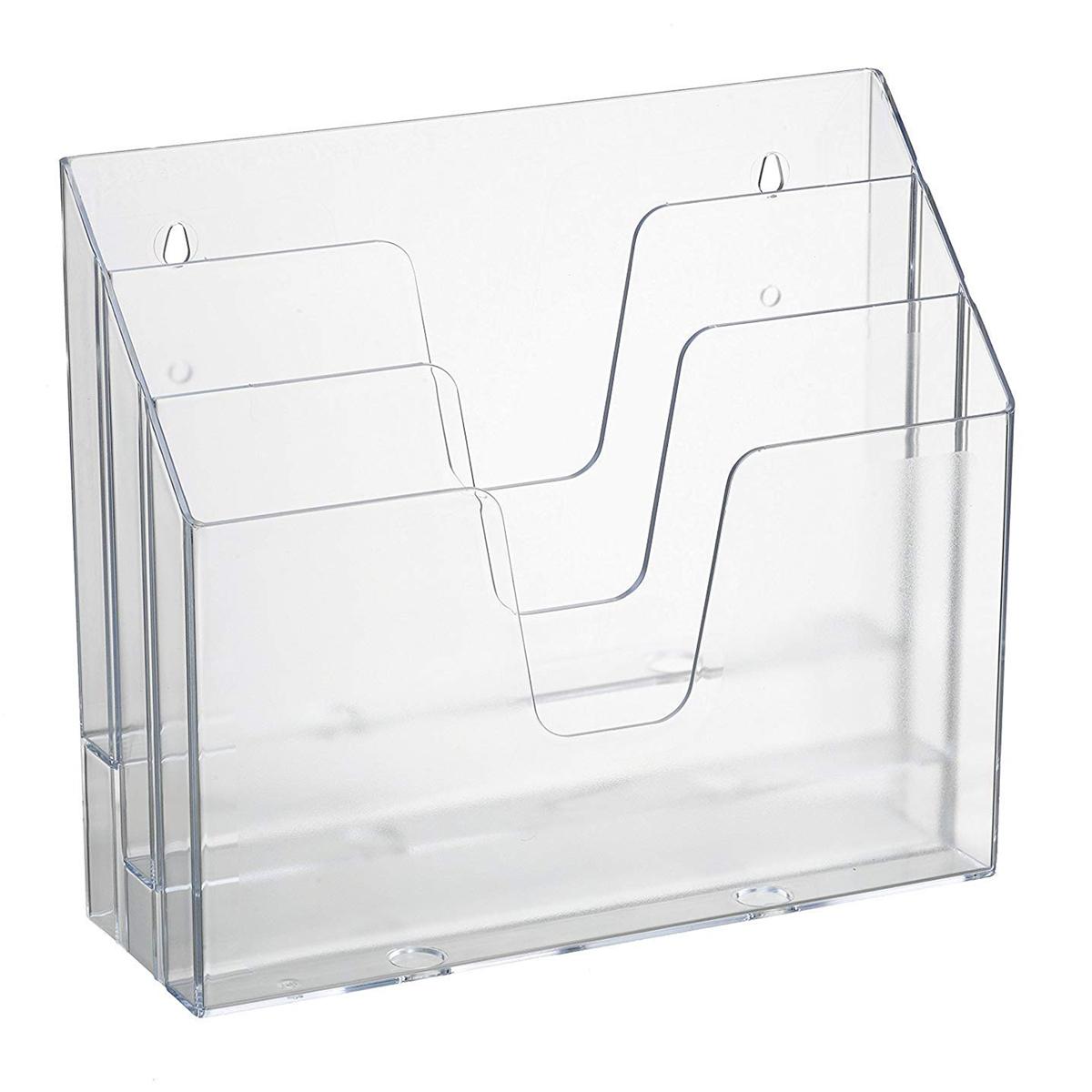 Acrimet Horizontal Triple File Folder Organizer (Clear Crystal Color)