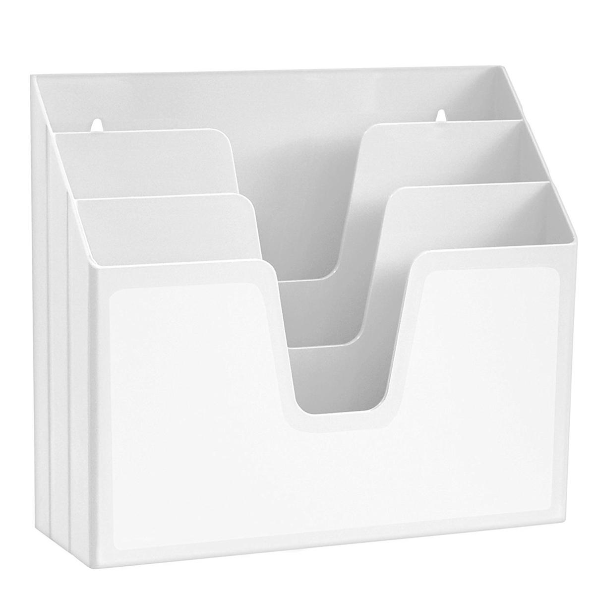 Acrimet Horizontal Triple File Folder Organizer (Solid White Color)