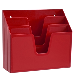 Acrimet Horizontal Triple File Folder Organizer (Solid Red Color) Code 860.VM.O