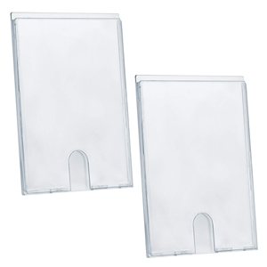 "Acrimet Wall Mount Sign Holder Display 9 1/8"" x 12 1/2"" Self Adhesive (A4 - Letter Size) (2 Pack) (Clear Crystal)"
