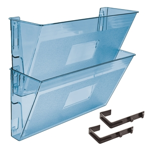 Acrimet Wall-Mounted Modular File Holder (Clear Blue Color) 2 Pack Code 867.3