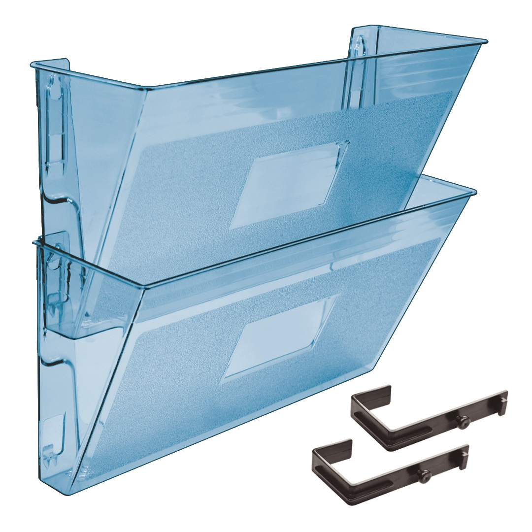 Acrimet Wall Mounted Modular File Holder Clear Blue Color 2 Pack Code 867 3