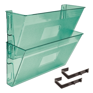 Acrimet Wall-Mounted Modular File Holder (Clear Green Color) 2 Pack Code 867.4
