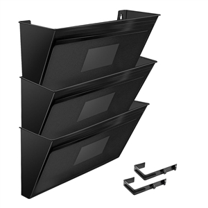 Acrimet Wall-Mounted Modular File Holder (Solid Black Color) 3 Pack Code 868.5