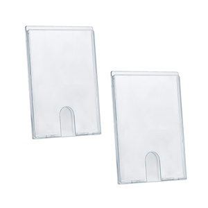 "Acrimet Wall Mount Sign Holder Display 9"" x 6"" Self Adhesive (A5 - Memo Size) (2 Pack) (Clear Crystal) Code 875.5"