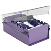 Acrimet Index Business Card Size File Holder Organizer Metal Base Heavy Duty (Purple Color with Crystal Plastic Lid Cover) Code 910.0