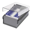Acrimet Index Business Card Size File Holder Organizer Metal Base Heavy Duty (Gray Color with Crystal Plastic Lid Cover) Code 910.3