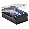 Acrimet Index Business Card Size File Holder Organizer Metal Base Heavy Duty (Black Color with Crystal Plastic Lid Cover) Code 910.5