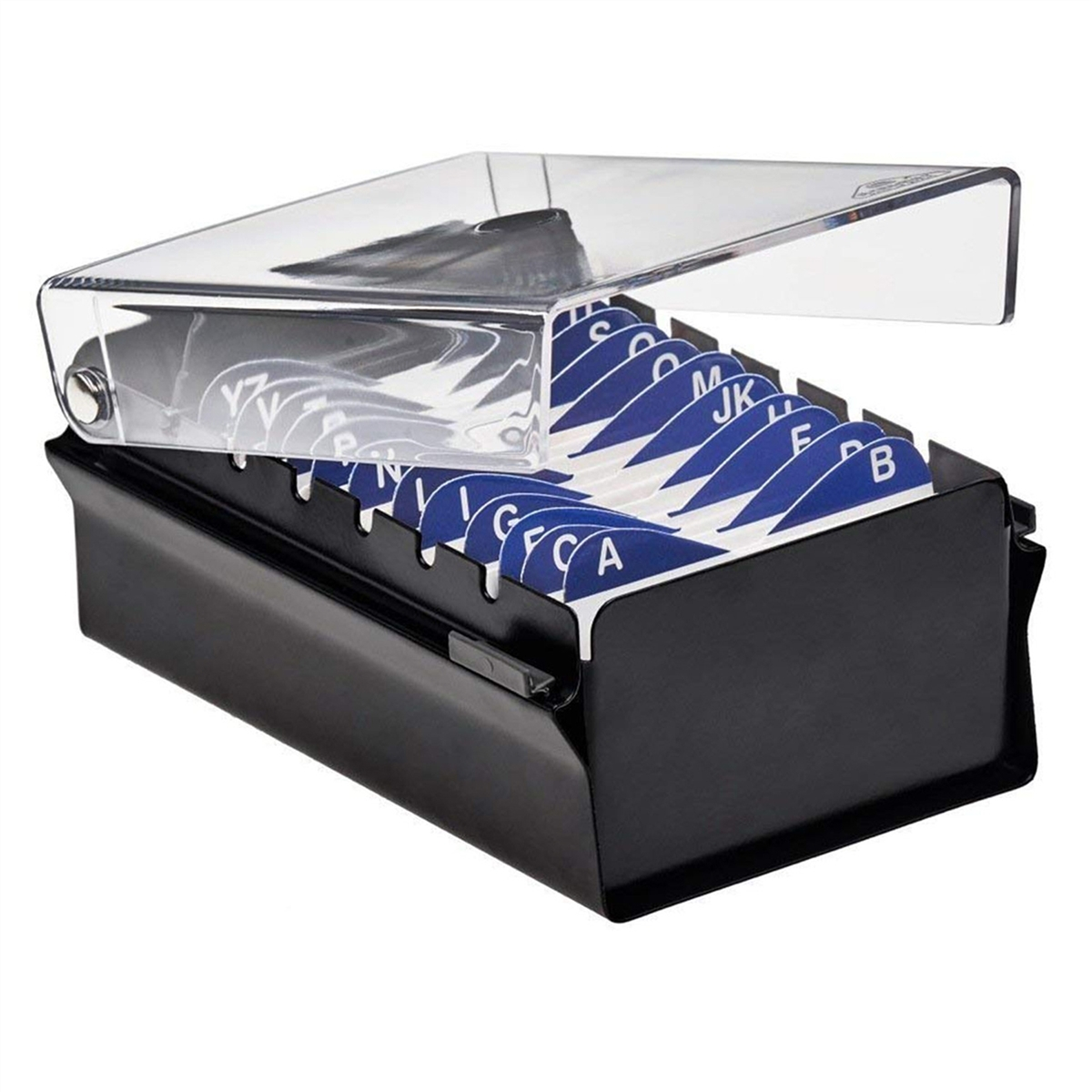 Acrimet Index Business Card File holder (Black Color with Crystal ...