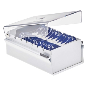 Acrimet Index Business Card Size File Holder Organizer Metal Base Heavy Duty (White Color with Crystal Plastic Lid Cover) Code 910.6