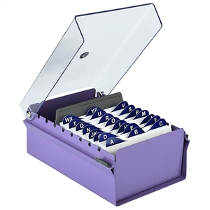 Acrimet 3 X 5 Card File Holder Organizer Metal Base Heavy Duty (Purple Color with Crystal Plastic Lid Cover) Code 921.9