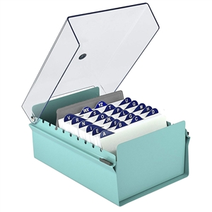Acrimet 4 X 6 Card File Holder Organizer Metal Base Heavy Duty (Green Color with Crystal Plastic Lid Cover) Code 922.6