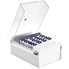 Acrimet 4 X 6 Card File Holder Organizer Metal Base Heavy Duty (White Color with Crystal Plastic Lid Cover) Code 922.8